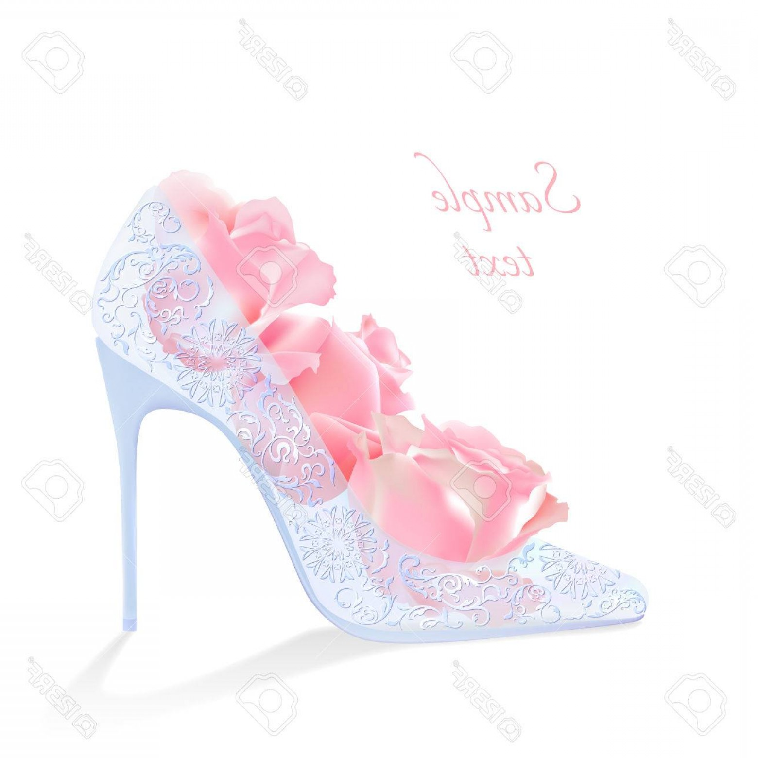 1560x1560 Photostock Vector Glass Slipper With Roses Greeting Card For A