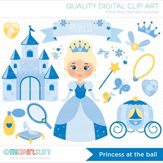 570x570 Princess Clipart Cinderella Castle Glass Slipper Fairy Etsy