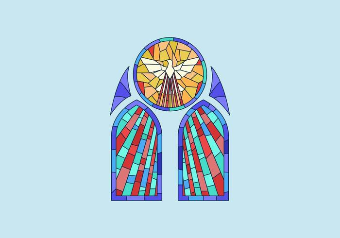 700x490 Dove Stained Glass Window Vector Illustration