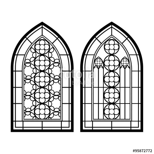 500x500 Gothic Windows. Vintage Frames. Church Stained Glass Windows