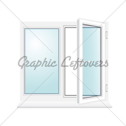 500x500 Open Plastic Glass Window Vector Illustration Gl Stock Images