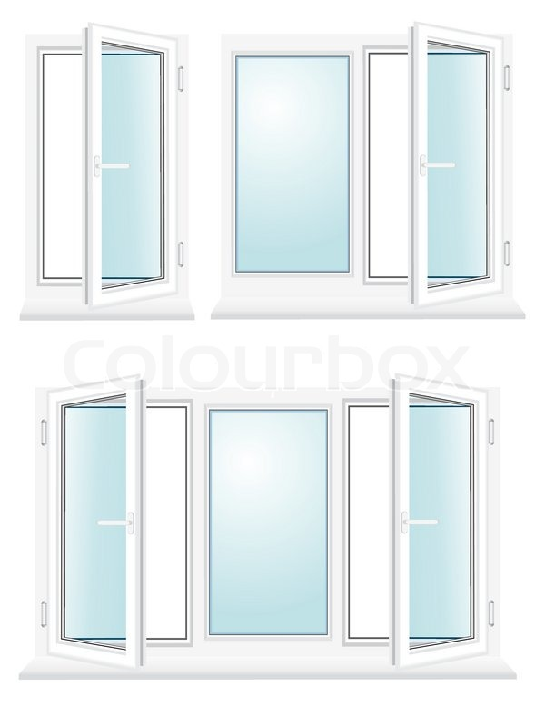 600x800 Open Plastic Glass Window Vector Illustration Isolated On White