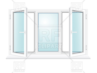 400x300 Open Three Sections Plastic Window Vector Image Vector Artwork