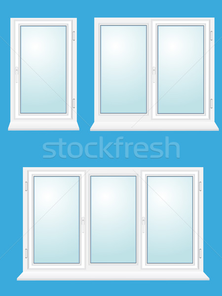 450x600 Closed Plastic Glass Window Vector Illustration Vector