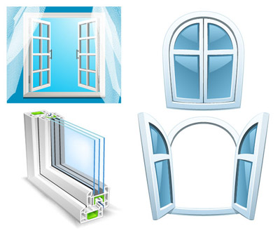 400x332 Aluminum Glass Windows Vector Material