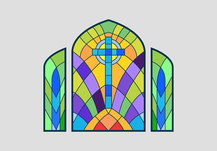 700x490 Cross Stained Glass Window Vector Illustration