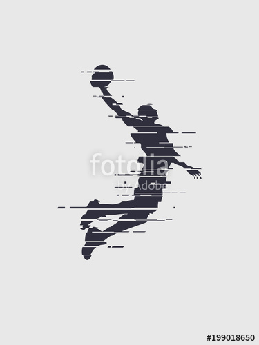 375x500 Glitch Basketball Player Silhouette Trend Glitch Vector Player