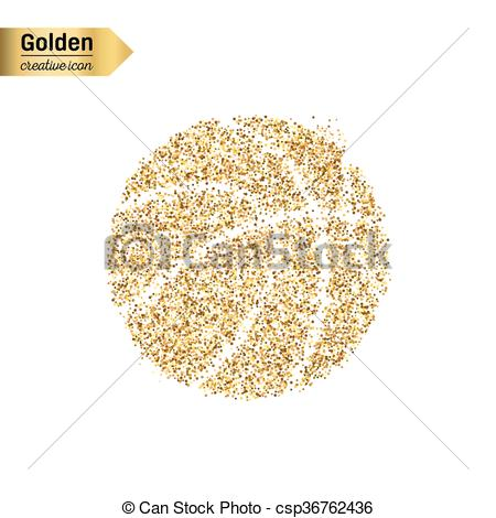 450x470 Gold Glitter Vector Object. Gold Glitter Vector Icon Of Basket