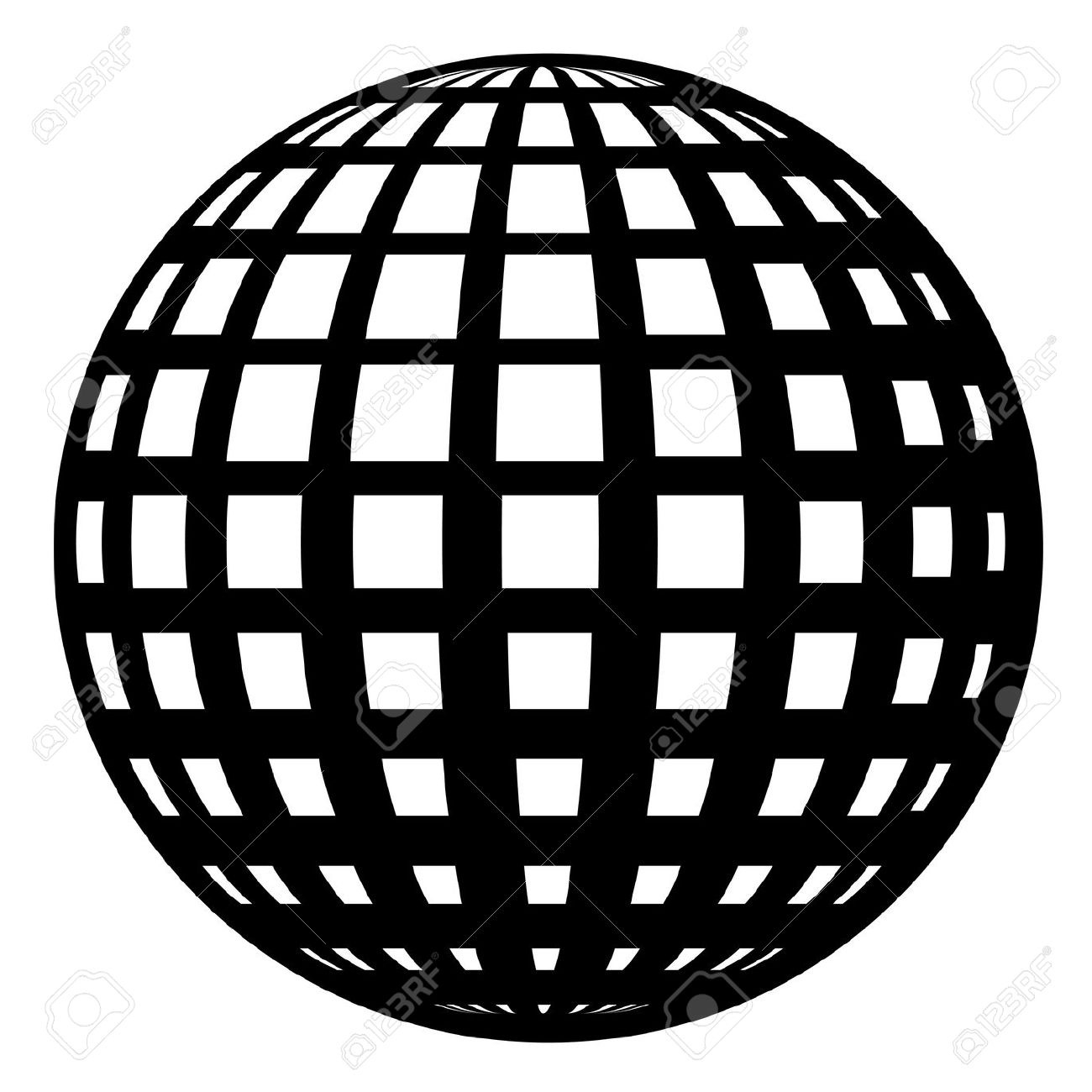 1300x1300 Globe Black And White Grid Vector