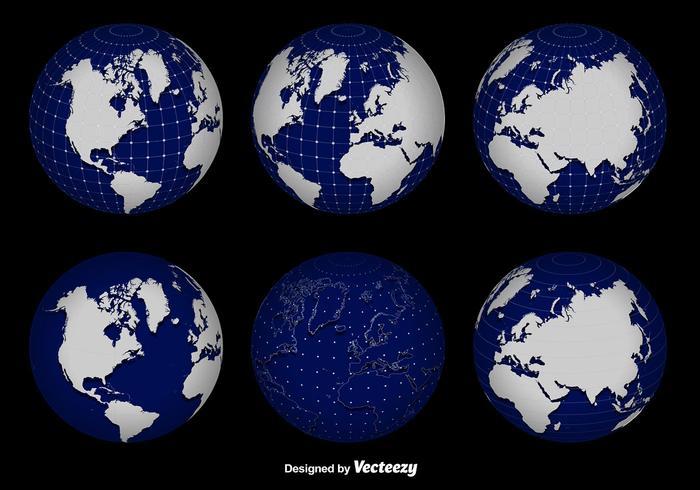 700x490 3d Globe Grid Vector Set