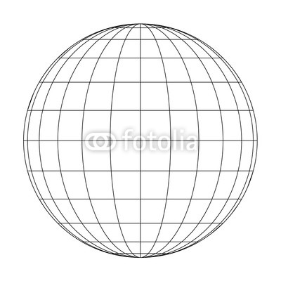 400x400 Front View Of Planet Earth Globe Grid Of Meridians And Parallels