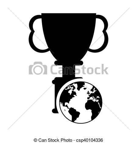 450x470 Flat Design Trophy Cup And Earth Globe Icon Vector Illustration.