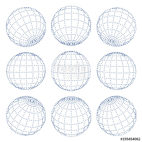 500x500 Set Of 3d Spheres Globe Earth Grid From Different Sides