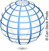 172x179 Vector Globe Icon. Abstract Image Of A Globe Lines. Vector Vector