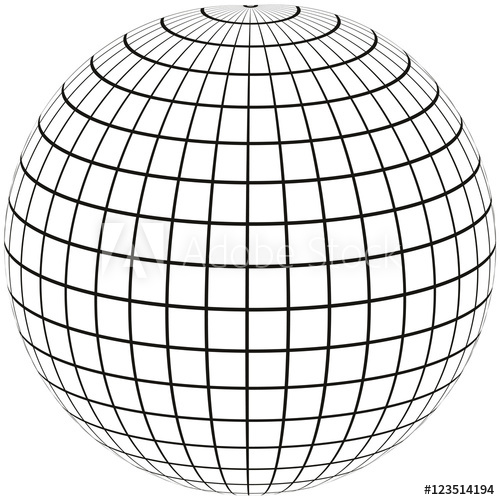 500x500 Ball With Lines Earth Globe With Meridian And Longitude, 3d Sphere