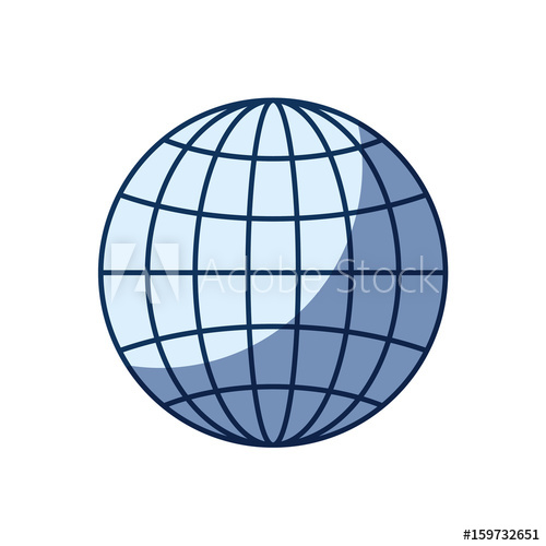 500x500 Blue Color Silhouette Shading Of Front View Globe Earth World