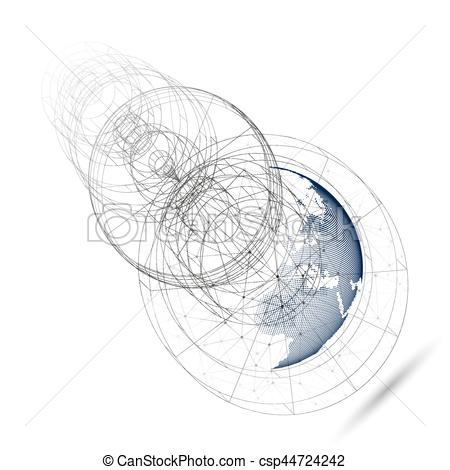 450x470 Dotted World Globe With Abstract Construction, Connecting... Eps