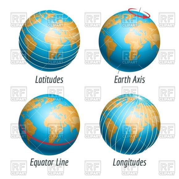 580x580 Latitude And Longitude Of The Earth Globe Vector Image Vector