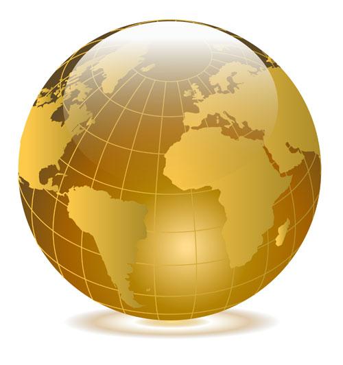 500x532 Bright Gold Globe Vector