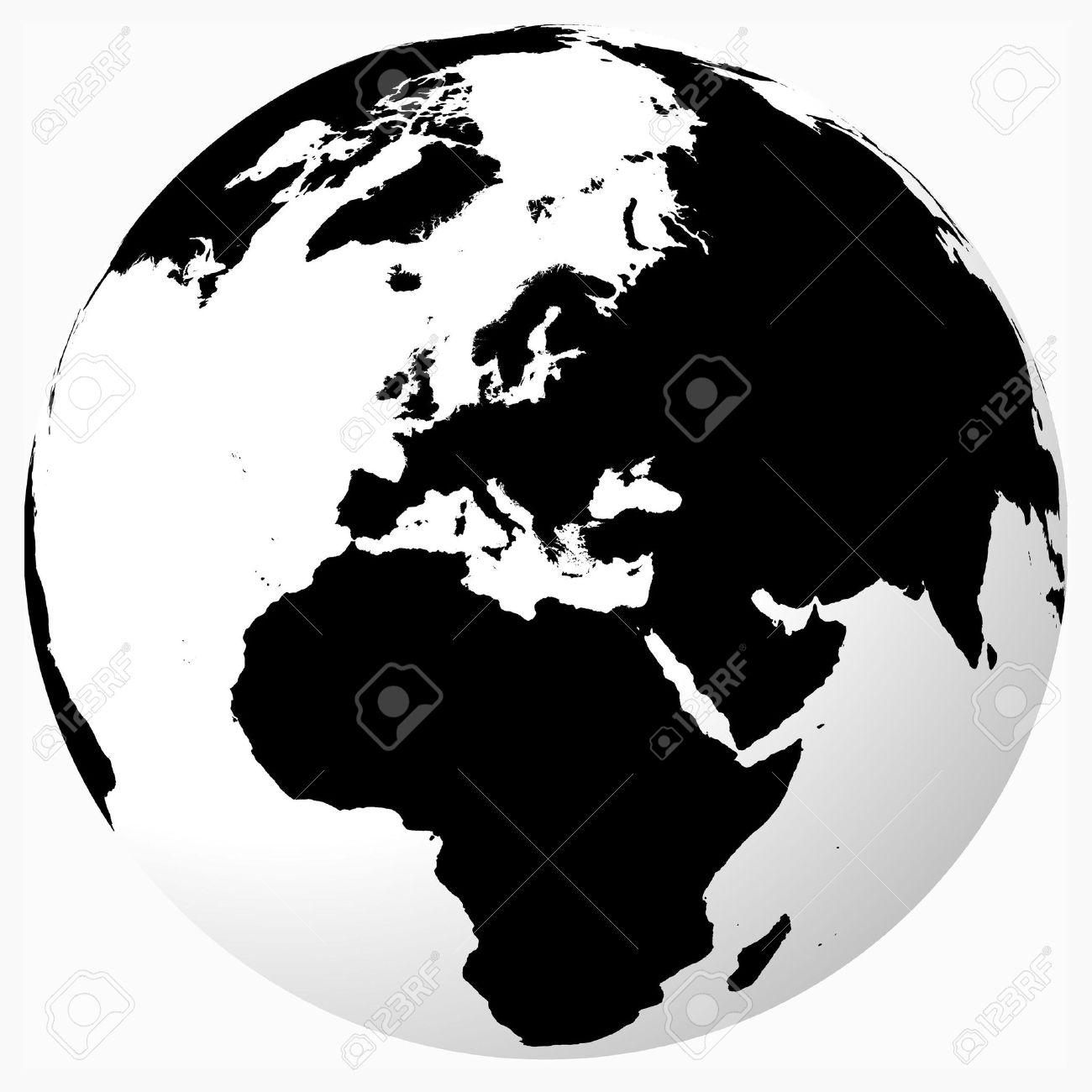 Globe Vector Black And White
