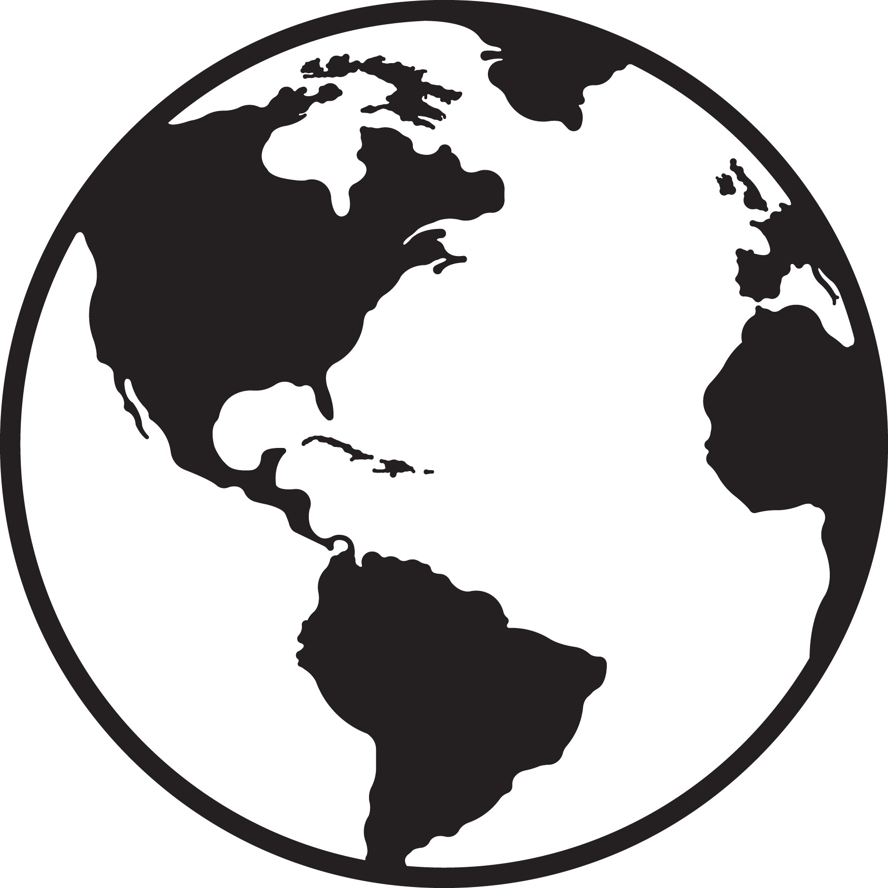 1800x1800 Earth Clipart Black And White 11 G Best Globe Vector Image For
