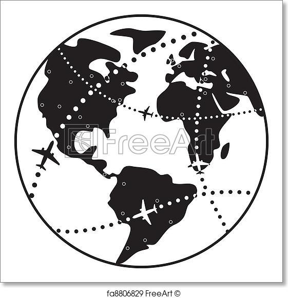 561x581 Free Art Print Of Vector Airplane Flight Paths Over Earth Globe