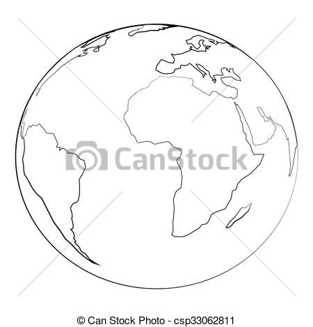 450x470 Globe. Black Outline Vector Globe And Angel Wing On White Background.