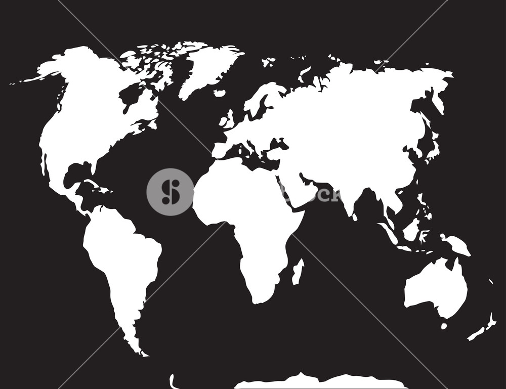 1000x769 Map World Black White. Atlas Globe Earth, Continent And Ocean