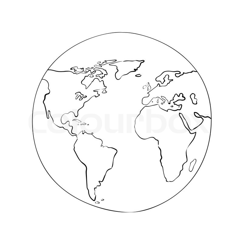 800x800 Sketch Globe World Map Black On White Background Vector