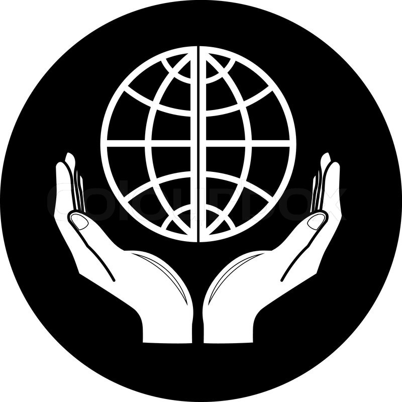 800x800 Vector Globe In Hands Icon Black And White Simply Change Stock