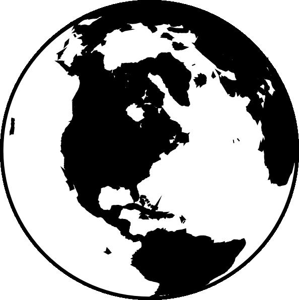 594x596 White And Black Globe Clip Art