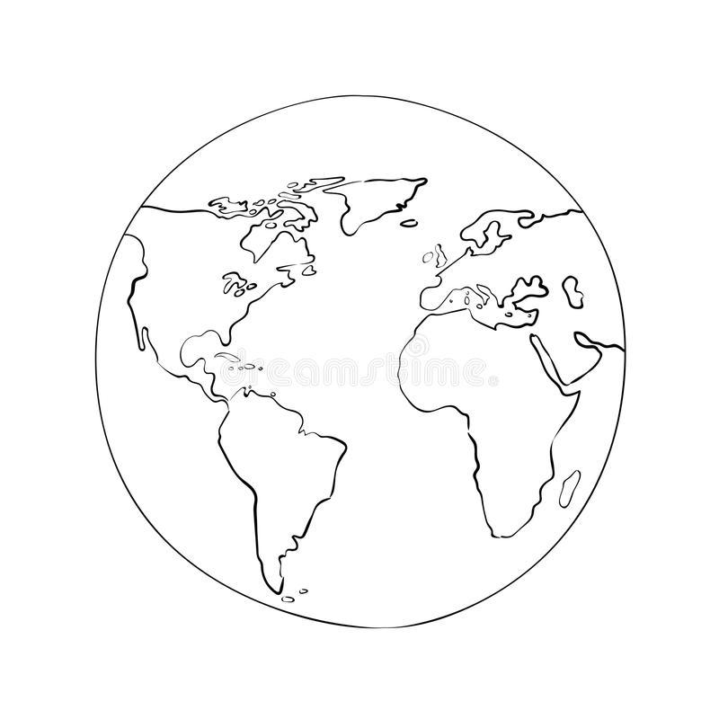 800x800 Sketch Globe World Map Black Vector Illustration Stock Vector