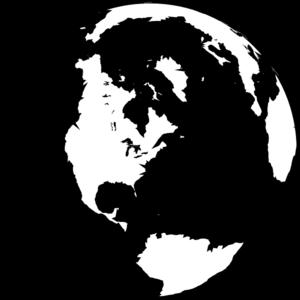 300x300 Black And White Globe Clip Art