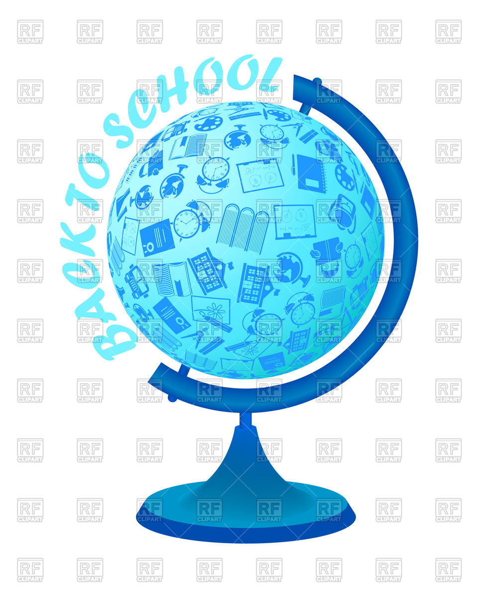 960x1200 Back To School Design With Education Symbols In Globe Vector Image