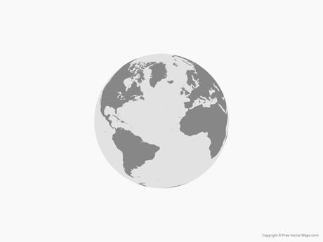 460x345 Vector Map Of Globe Of Atlantic Ocean