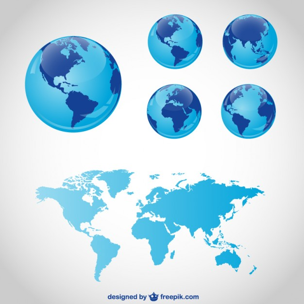 626x626 Blue Globes And World Map Vector Free Download