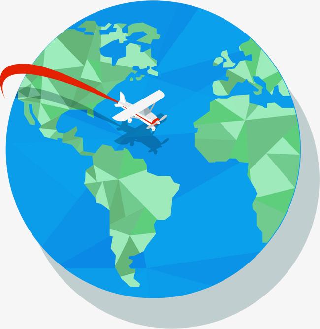 650x668 Plane Travel Around The Globe, Vector Material, White Plane, Earth