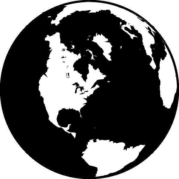 600x600 Black And White Globe Clip Art