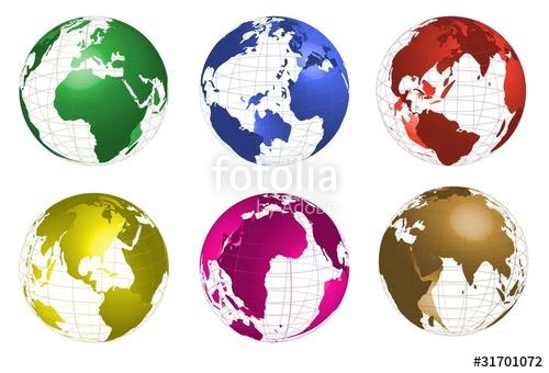 500x340 Mapa Mundi,globo Terraqueo En Diferentes Colores Stock Image And