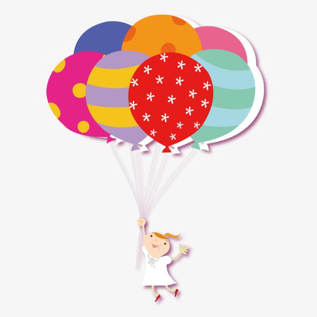 650x651 Vector Flat Balloons And Children Clutching Balloons, Children