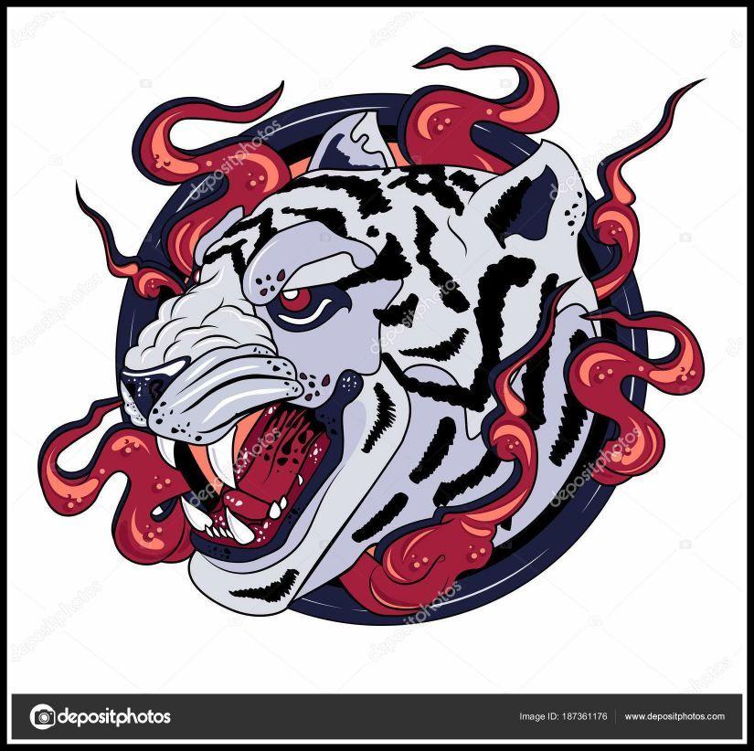 825x822 Marvelous White Tiger Print Logo U Stock Vector Rikitikitao Gmail