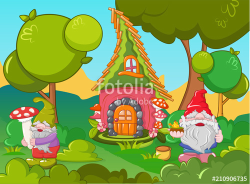500x368 Home Gnome Concept Banner. Cartoon Illustration Of Home Gnome