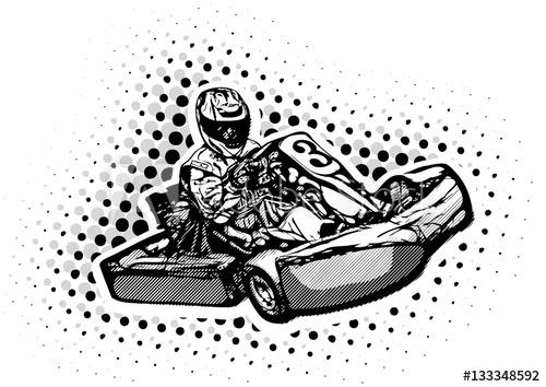 500x354 Go Kart Racer Illustration