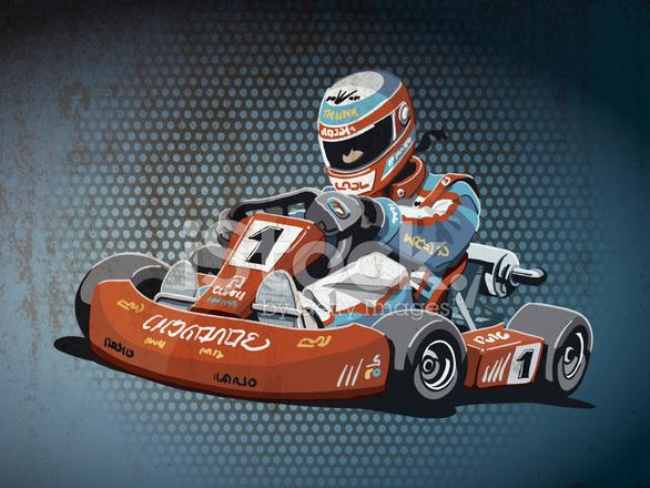 586x440 Go Kart Racing Grunge Color Stock Vector