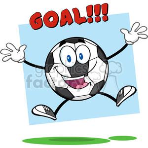 300x300 Royalty Free Happy Soccer Ball Cartoon Mascot Character Jumping