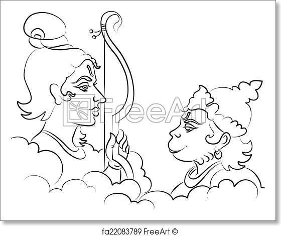 560x470 Free Art Print Of Lord Rama With Hanuman Ape (Monkey) God. Lord