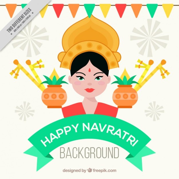 626x626 Happy Navratri Background With Durga Goddess Vector Free Download