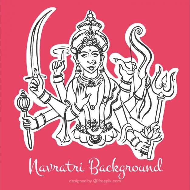 626x625 Navratri Pink Background With Illustration Of Durga Goddess Vector
