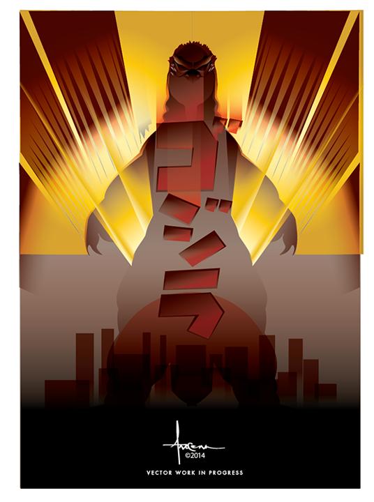 536x720 Godzilla Vector Tribute On Behance