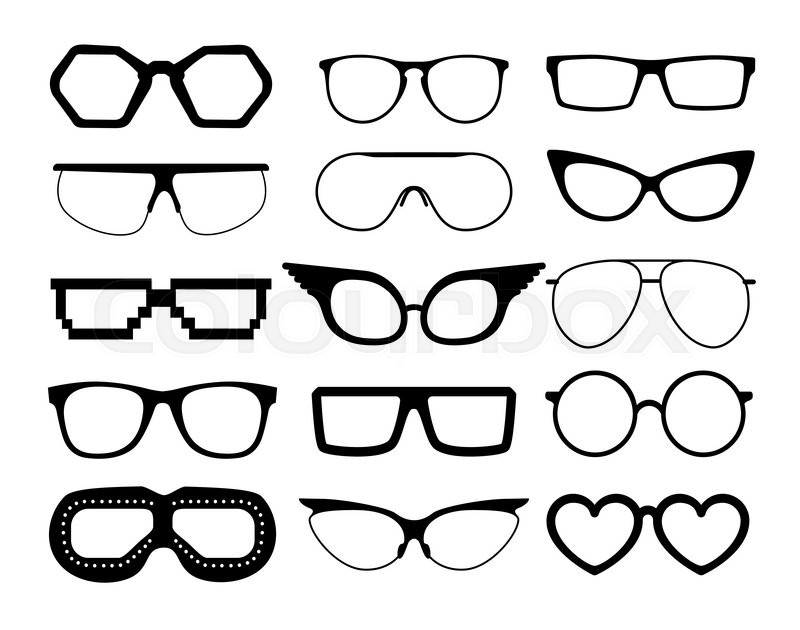 800x630 Set Of Vector Glasses On White Background, Including Aviation And